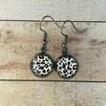 12mm glass animal print cabochon earrings