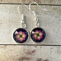 12mm glass Starburst cabochon earrings