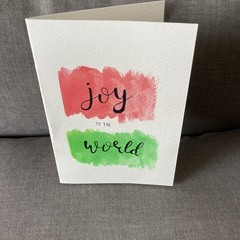 Watercolour Calligraphy Joy to the World Card