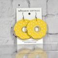 Doughnut Vegan Leather Fun Earrings (yellow/ white)