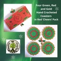 Four Green, Red and Gold Hand Crocheted Coasters in Red 'Cheers' Pack