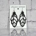 Autumn Leaf Vegan Leather Earrings (black)