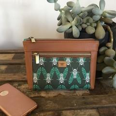 Dbl. Zip Pouch - Green Cicadas/Tan Faux Leather