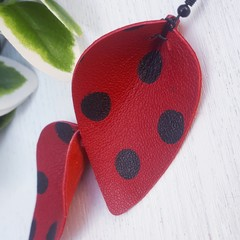 """Ladybird"" Pinched  Petal Leather Earrings, Red/Black Polkadot"