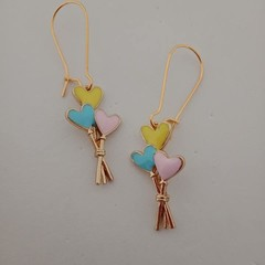 Gold enamel balloon heart charm earrings
