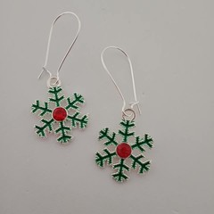 Silver green and red Christmas snowflake charm earrings