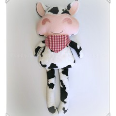 Handmade cute dairy cow plush doll toy black and white friesian red bandana farm