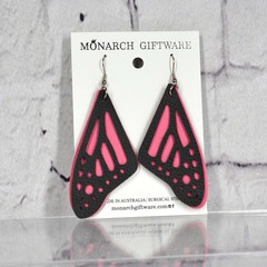 Butterfly Vegan Leather Earrings (pink)