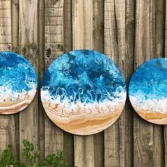 O C E A N set - (2x 30cm round and 1x 40cm round acrylic on canvas)