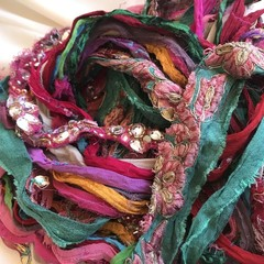 Recycled silk chiffon Multicolour embellished ribbons 100 grams