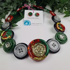 Festive Sparkle - Christmas  - Button Necklace - Button Earrings - Jewellery