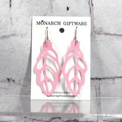 Autumn Leaf Vegan Leather Earrings (sorbet pink)
