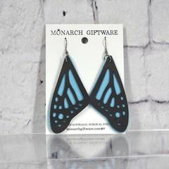 Butterfly Vegan Leather Earrings (blue)