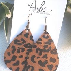 Leopard Print, Genuine Leather Earrings