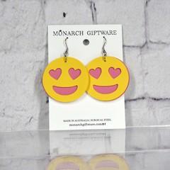 Smiling Heart Emoji Vegan Leather Fun Earrings (yellow/hot pink)