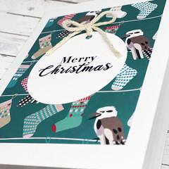Christmas card, handmade Christmas card, Kookaburra Christmas card