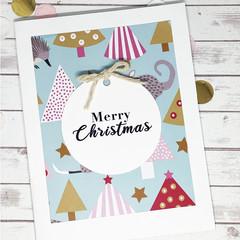 Christmas card, handmade Christmas card, Australian animal card