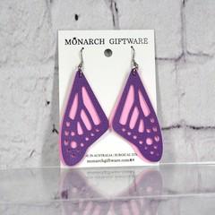 Butterfly Vegan Leather Earrings (sorbet pink/purple)