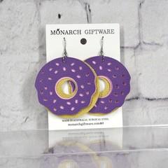 Doughnut Vegan Leather Fun Earrings (purple/ sorbet pink)