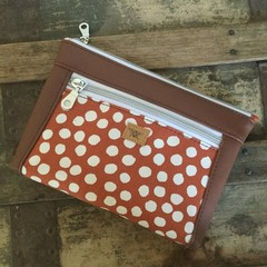 Dbl. Zip Pouch - Rust Spot/Brown Faux Leather