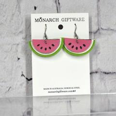 Watermelon Vegan Leather Earrings