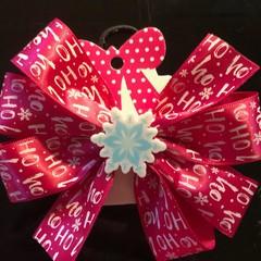 Pink HoHoHo bow with embellishment