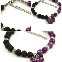 Colourful Diffuser Charm Bracelets in Gemstone and Lava.