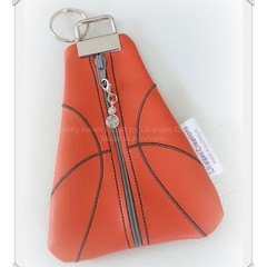 Basketball coin purse, vinyl coin pouch, orange triangle coin purse keychain, sw