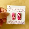 Long Stud Earrings in Pink Ripple