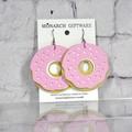 Doughnut Vegan Leather Fun Earrings (sorbet pink/white)