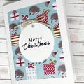 Christmas card, handmade Christmas card, Australian echidna Christmas card