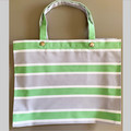 TOTE BAG - green, white and grey striped.