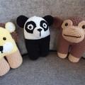 Trio Zoo Animal Pack Soft Toys, Animals Softies, Panda, Monkey, Lion