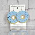 Doughnut Vegan Leather Fun Earrings (blue/sorbet pink)