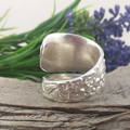 Floral Rose SPOON RING, Sterling Silver Spoon Ring. Size S1/2.