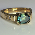 14ct Yellow Gold Dress Ring With a Beautiful Emerald Cut Sapphire and Diamonds