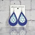 Snowflake Vegan Leather Earrings (light blue/white/navy)