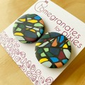 Large Stud Earrings in Stained Glass