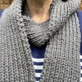 Grey merino long winter scarf hand knitted wool