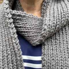Grey merino long winter scarf hand knitted wool
