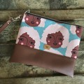 Flat Clutch - Faces with Lt Pink Curly Hair/Brown Faux Leather