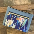 Dbl. Zip Pouch - Blue Proteas/Blue Faux Leather
