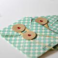 Button Tie Envelopes {2} Pockets Festive Green Dots | Handmade Button Envelope