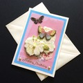 3D Flowers and Butterflies Birthday Card