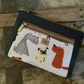 Dbl. Zip Pouch - Dogs/Black Faux Leather