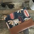 Flat Clutch - Banksia/Tan Faux Leather