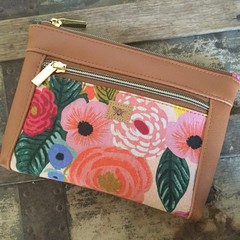 Dbl. Zip Pouch -Roses/Tan Faux Leather