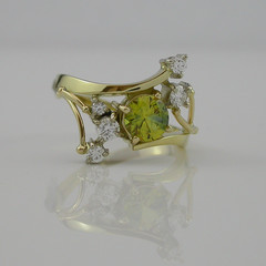 18ct Solid Gold Yellow Sapphire and Diamond Dress Ring