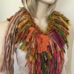 Recycled silk, boho tattered neckpiece