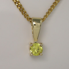 Solid 9ct Yellow Gold Yellow Parti Sapphire Pendant